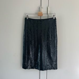 J Crew Black sequined pencil skirt